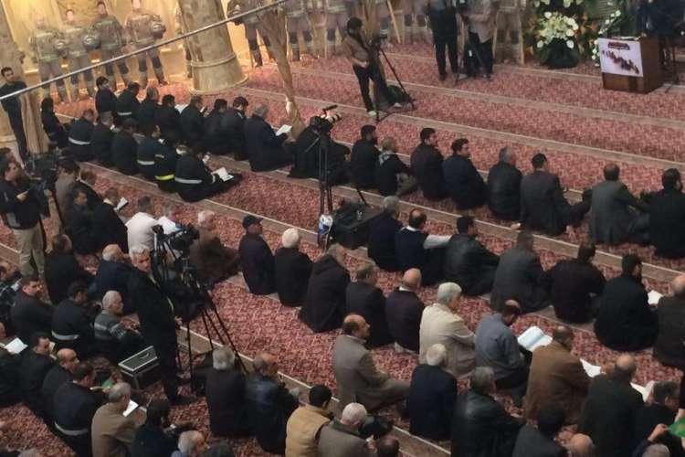 برگزاری مراسم چهلم شهدای آتش نشان حادثه پلاسکو/ احمدی نژاد در مراسم حاضر شد