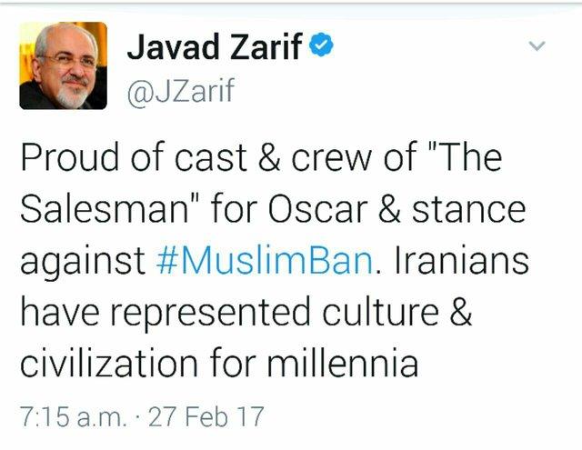 تبریک توئیتری «ظریف» به عوامل فیلم فروشنده